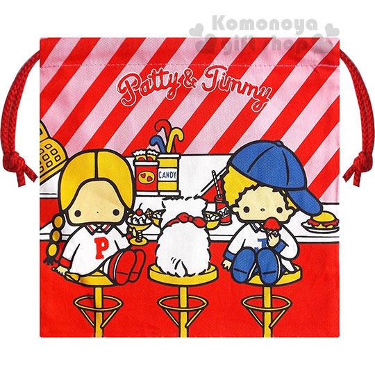 〔小禮堂〕Patty&Jimmy 棉質束口袋《紅斜紋.坐高腳椅.食物》