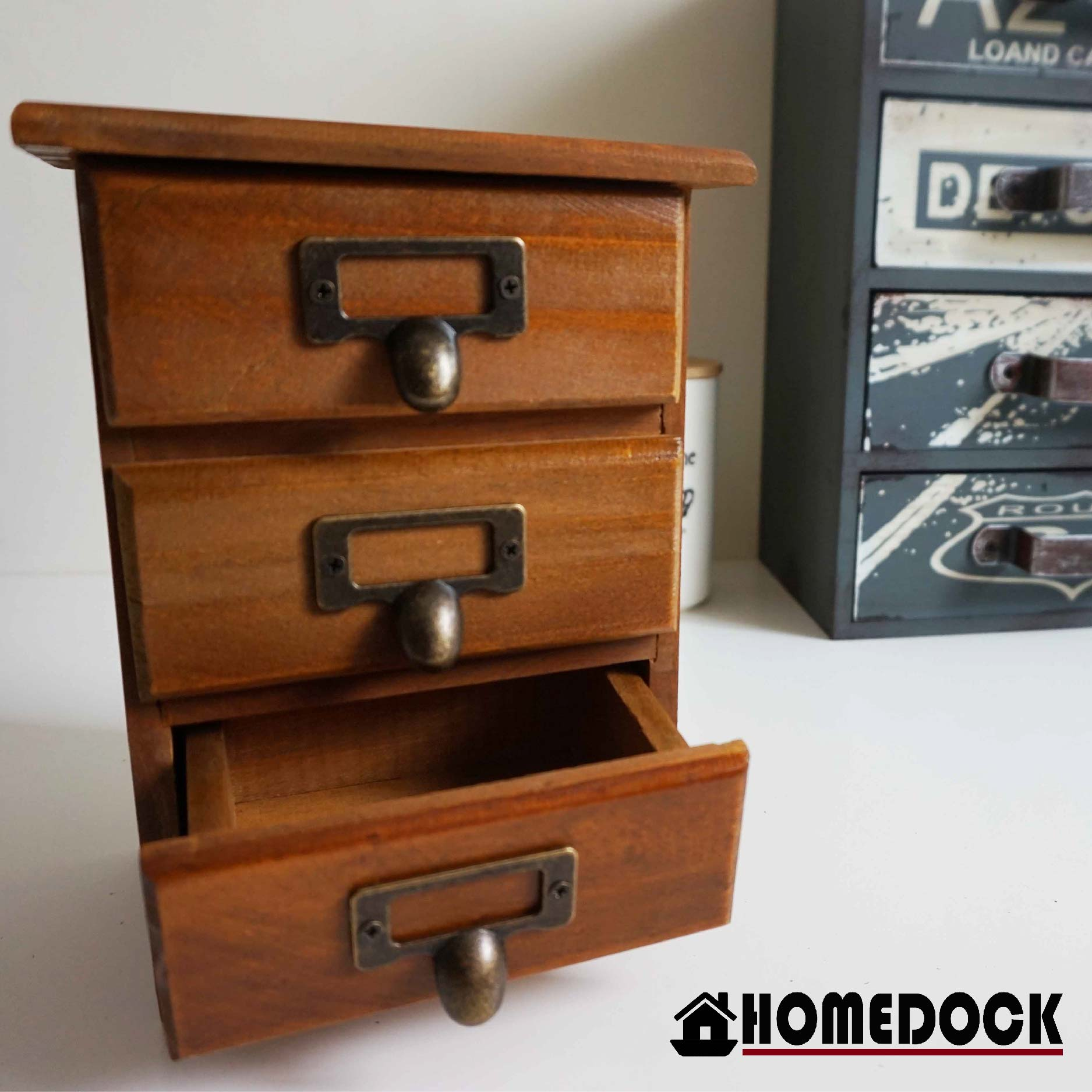 HOMEDOCK-原木質感3層小抽屜收納櫃 三層/三格/木櫃/置物櫃/原木製/層格櫃/抽屜/Zakka/木盒