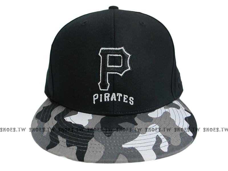 《降價7折》Shoestw【5562004-013】MLB 棒球帽 調整帽 潮流帽 海盜隊 黑灰迷彩 英文字