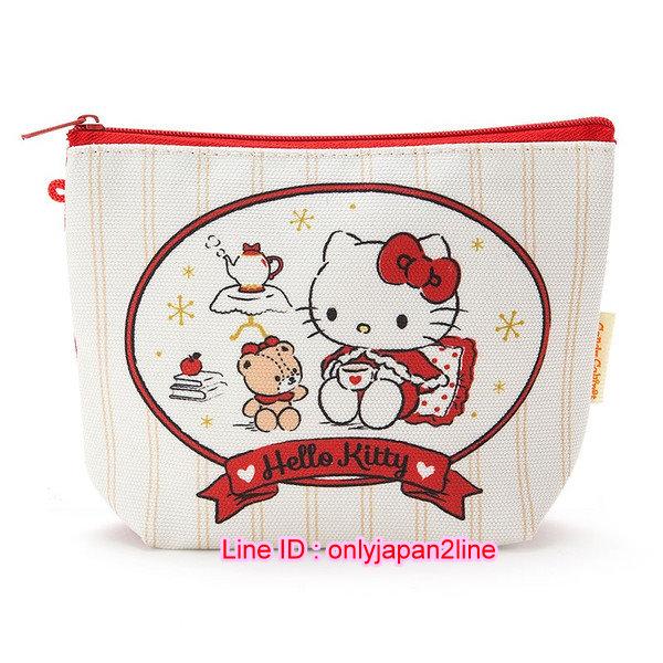 【真愛日本】16102700017 化妝包-KT披風紅  三麗鷗 Hello Kitty 凱蒂貓  化妝包  收納包  萬用包