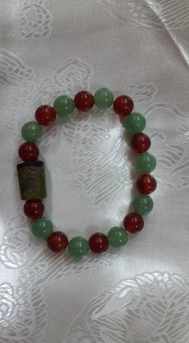 東菱玉 紅瑪瑙玉石 老琉璃珠 手珠 ( 智慧生機 行動力)典雅