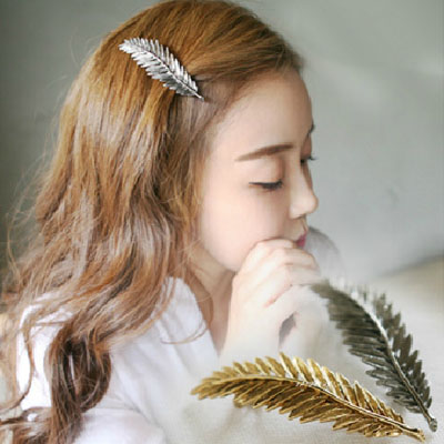 [全店免運,滿700現折$100]   韓系飾品 復古金屬羽毛樹葉髮夾彈簧夾 2色【AA-6039】