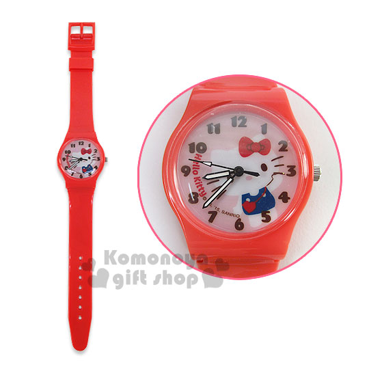 〔小禮堂〕Hello Kitty 亮面矽膠手錶《紅.站姿.舉單手.斜背包》
