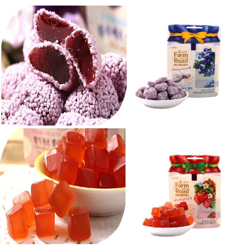 有樂町進口食品 韓國《LOTTE》田園軟糖(藍莓/草莓) 8801062334766