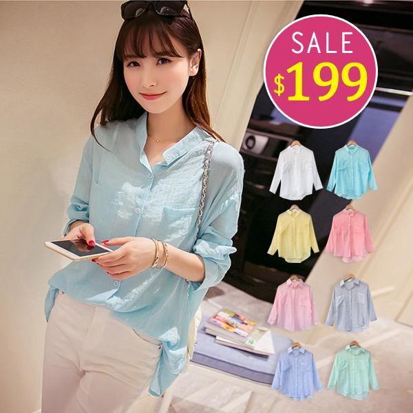 BOBO小中大尺碼【1633】寬版棉麻透氣長袖襯衫-共8色