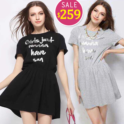 BOBO小中大尺碼【6251】英文短袖休閒洋裝-共2色