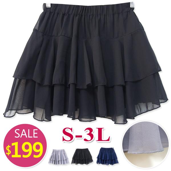 BOBO小中大尺碼【813】中腰鬆緊雪紡蛋糕褲裙-S-3L-共2色