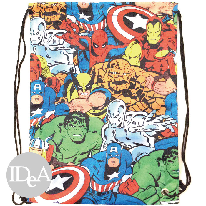 Marvel 復仇者聯盟漫畫版雙肩束口後背包 尼龍繩 運動 游泳 球 衣 裝 具 鞋 練習袋 training bag