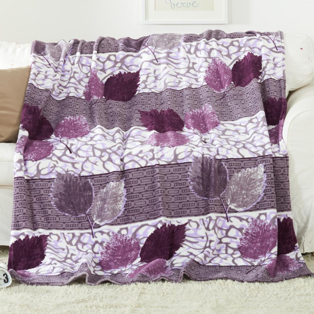 親膚保暖法蘭絨毛毯 / 紫色葉子 / 二件內(含)可超取 / 哇哇購