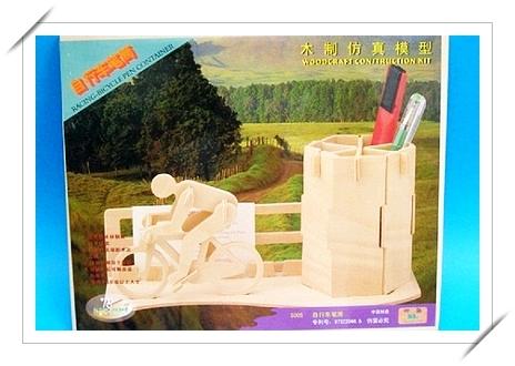 DIY木質3D立體拼圖 模型筆筒(S-005自行車筆筒.中2片入)/一組入{促49}