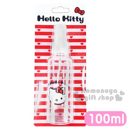 〔小禮堂〕Hello Kitty 噴霧式空瓶《透明.大臉.愛心.100ml》可自由補裝內容物