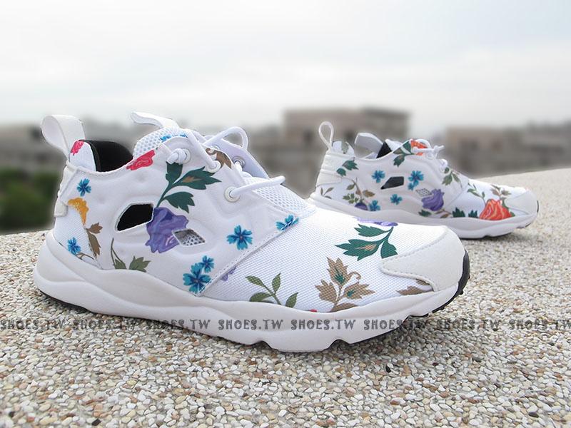 Shoestw【V63575】Reebok FuryLite SR 白色 小碎花 襪套 女生尺寸