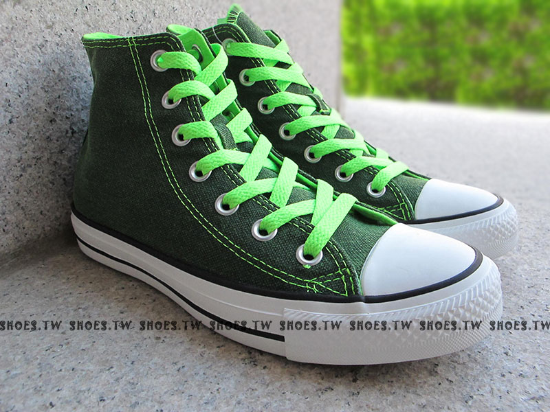 [24.5cm]《限量5折》Shoestw【1134W170071】CONVERSE 帆布鞋 ALLSTAR 螢光水洗 高筒帆布 綠色 女生