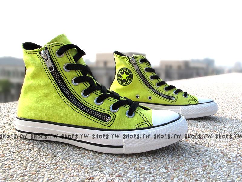 [23cm]《限量5折》鞋殿【543137C】CONVERSE 帆布鞋 CTAS ZIP 雙拉鍊 螢光黃 黑標 女款