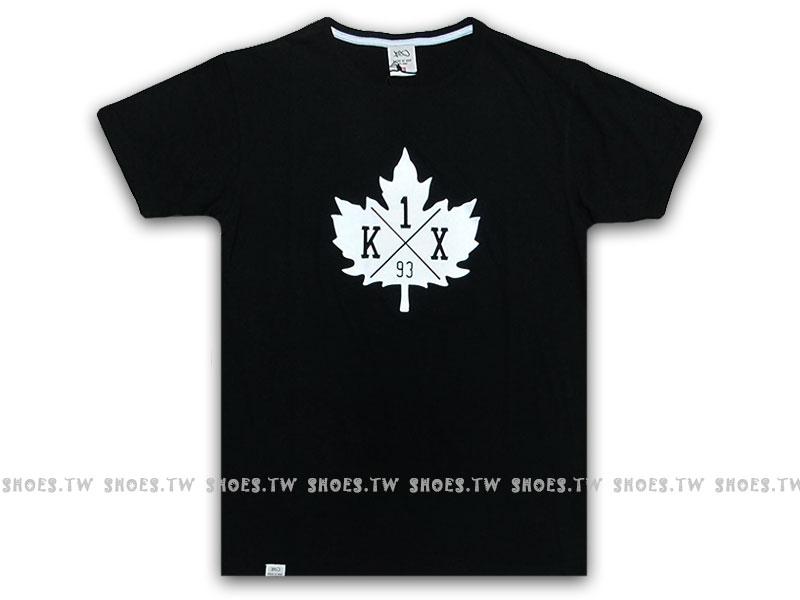 Shoestw【120007010010】K1X 德國街頭籃球服飾 短袖 短T 黑色 楓葉 中性款 男女都可穿