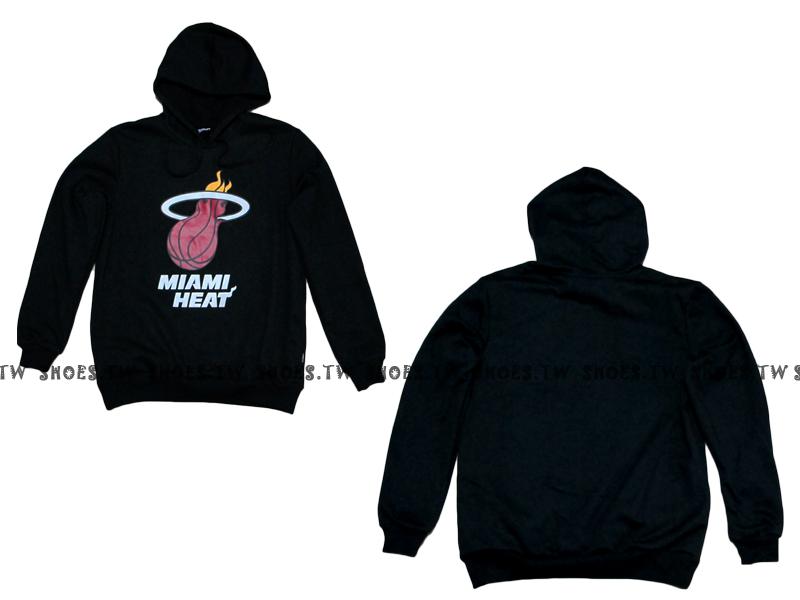 Shoestw【8360101002】NBA 帽T 大LOGO 邁阿密 熱火隊 鋪棉 有口袋 黑色