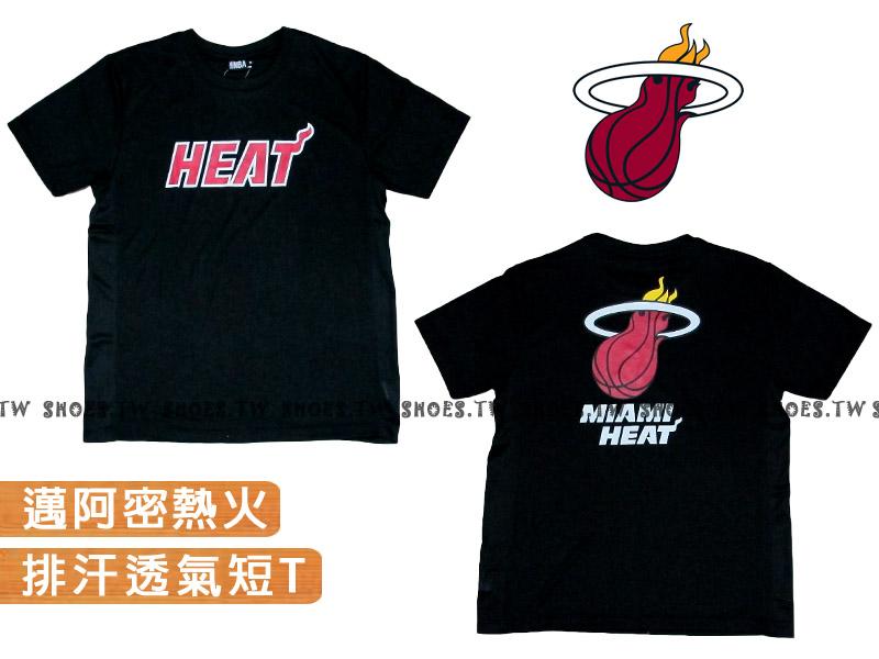 《換季折扣》Shoestw【8260213002】NBA 排汗短袖 T恤 邁阿密 熱火隊 黑色