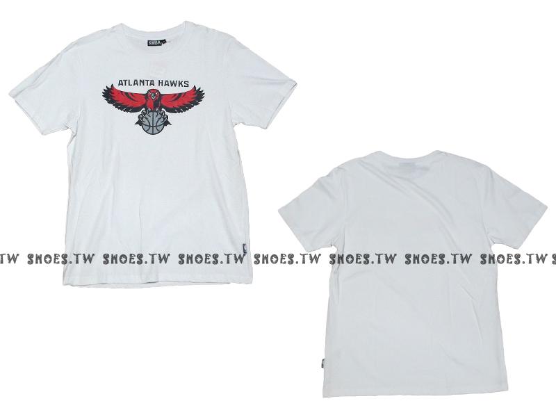 《換季折扣》Shoestw【8330216008】NBA 短袖 T恤 基本款 隊徽LOGO 100%純棉 亞特蘭大 老鷹隊 白色