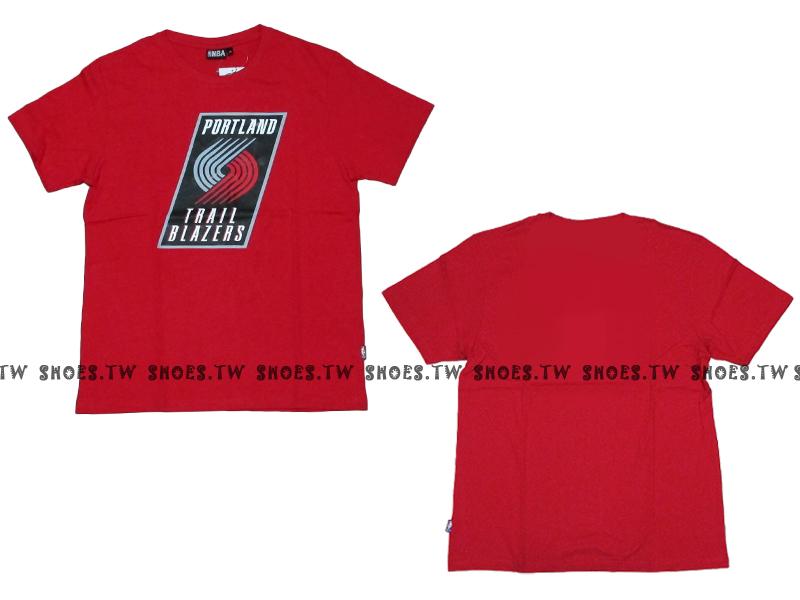 《換季折扣》Shoestw【8330216027】NBA 短袖 T恤 基本款 隊徽LOGO 100%純棉 波特蘭 拓荒者隊 紅色