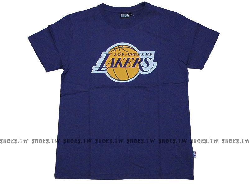 《換季折扣》Shoestw【8330216-025】NBA 短袖 T恤 基本款 隊徽LOGO 100%純棉 湖人隊 紫色