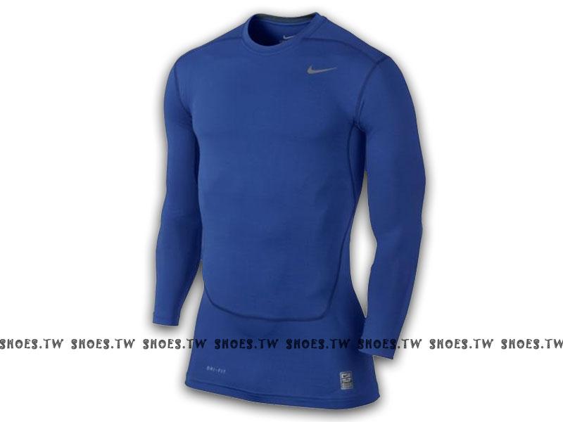 Shoestw【449794494】NIKE PRO 萊卡 DRI-FIT 緊身束衣 保暖 長袖 排汗 寶藍色