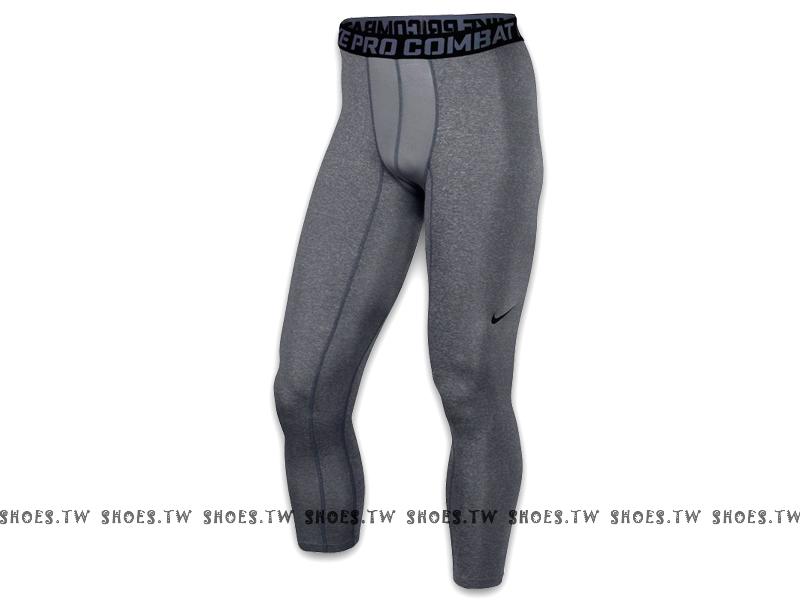 Shoestw【449822021】NIKE PRO 萊卡 DRI-FIT 緊身束褲 保暖 長束褲 排汗 慢跑 灰色