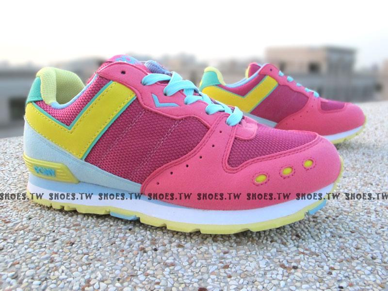 [24.5cm]《超值5折》【51W1YK61PK】PONY YORK 復古慢跑鞋 內增高 粉黃綠 女款 歐陽妮妮