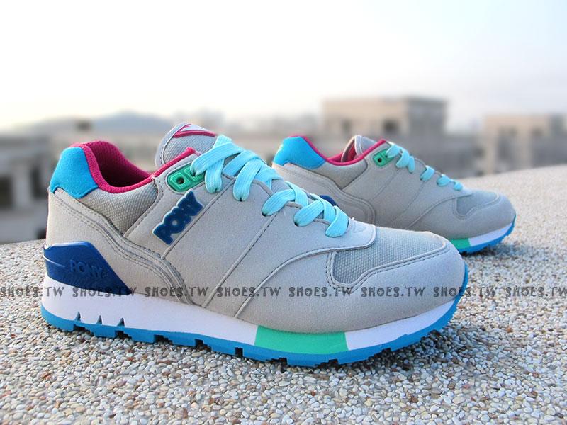 [24cm]《超值5折》【51W1MK66SY】PONY MARK7 復古慢跑鞋 內增高 灰藍桃 女款 歐陽妮妮