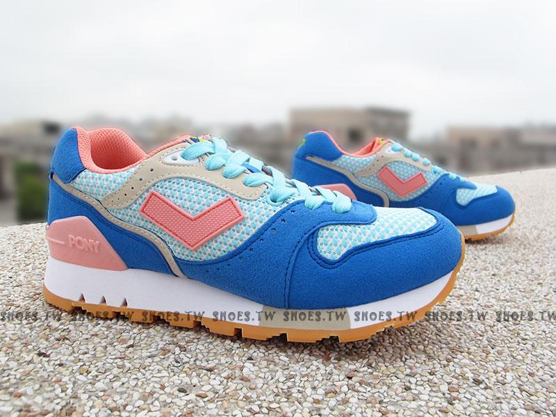 《超值5折》Shoestw【52W1MK62BL】PONY MARK8 復古慢跑鞋 內增高 藍粉紅 女款 歐陽妮妮