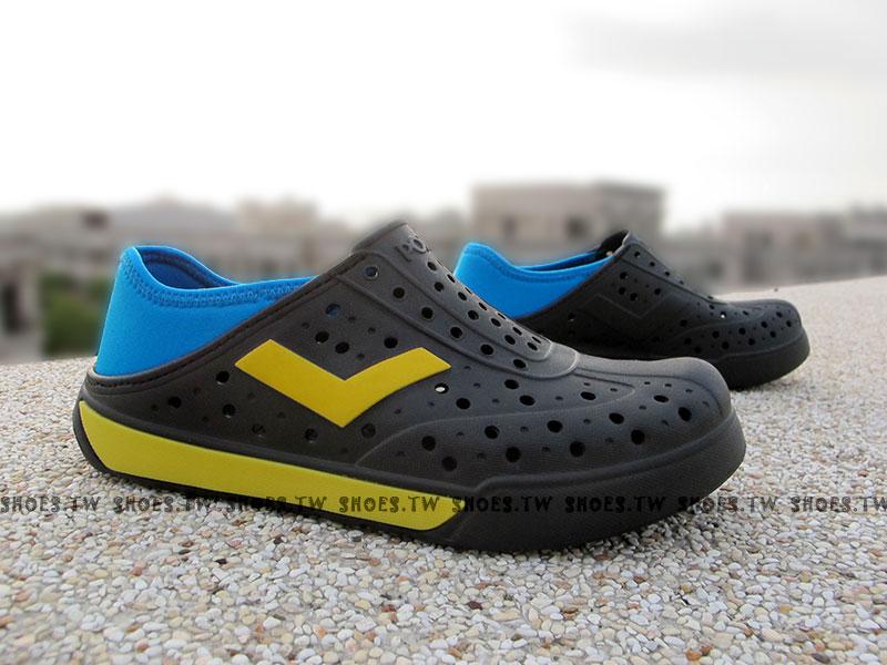[23cm]《限時特價79折》Shoestw【52U1SA64BK】PONY 洞洞鞋 可踩跟 新款 懶人拖 黑藍黃V 男女生都有