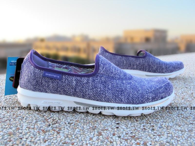 [25.5cm]【13773PUR】SKECHERS 健走鞋 輕便鞋 GO WALK 紫 編織 女款