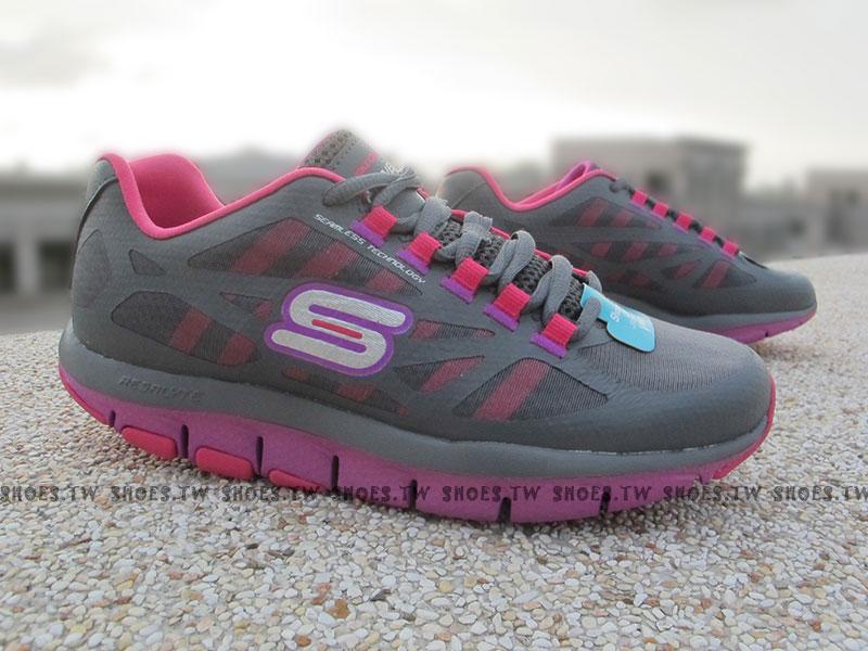 Shoestw【99999871GYPR】SKECHERS 健走鞋 U型鞋設計 SHAPE UPS 記憶乳膠鞋墊 灰紫