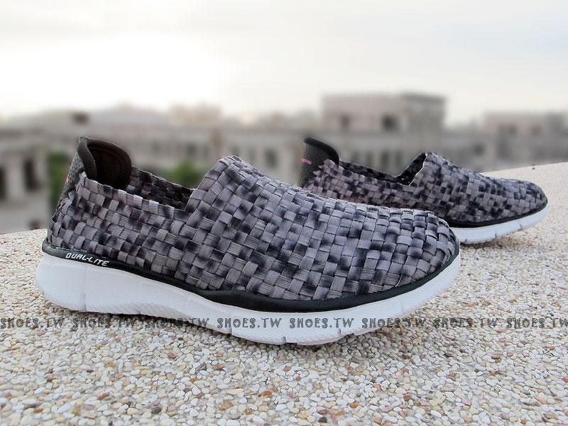 [25.5cm]Shoestw【12028BKW】SKECHERS 健走鞋 Stretch Weave 手工編織 黑灰 記憶泡棉鞋墊
