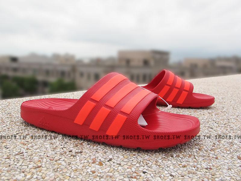 Shoestw【B26321】ADIDAS DURAMO SLIDE 拖鞋 一體成型 紅螢桃紅條 男女都有