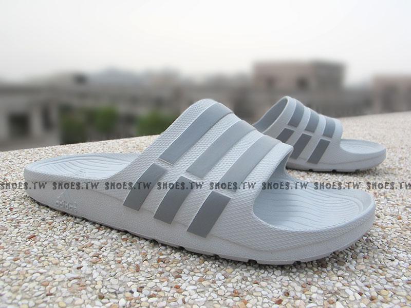 Shoestw【B44298】ADIDAS DURAMO SLIDE 拖鞋 一體成型 灰色 男生尺寸