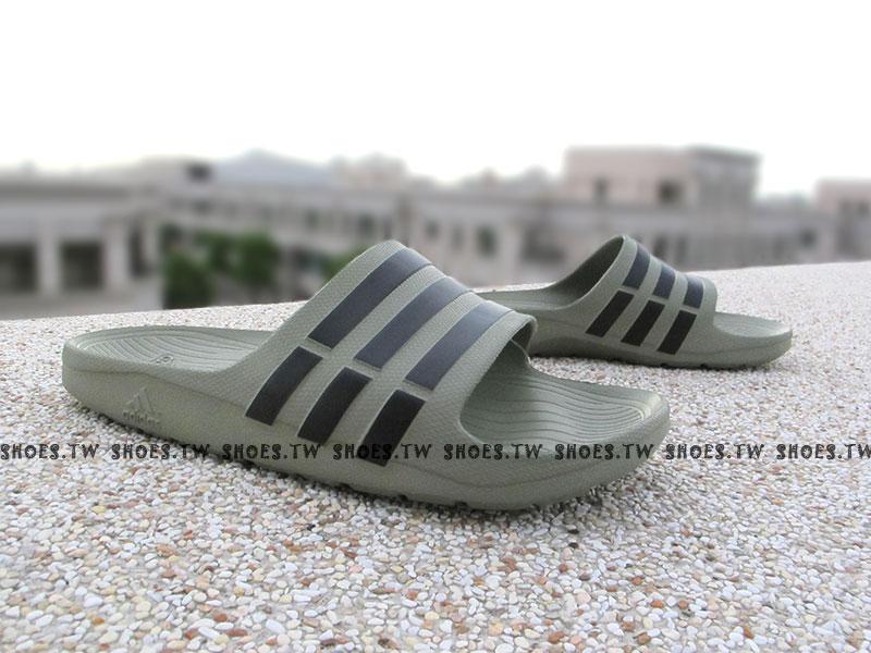 Shoestw【F32893】ADIDAS DURAMO SLIDE 拖鞋 一體成型 灰綠 黑線 男款