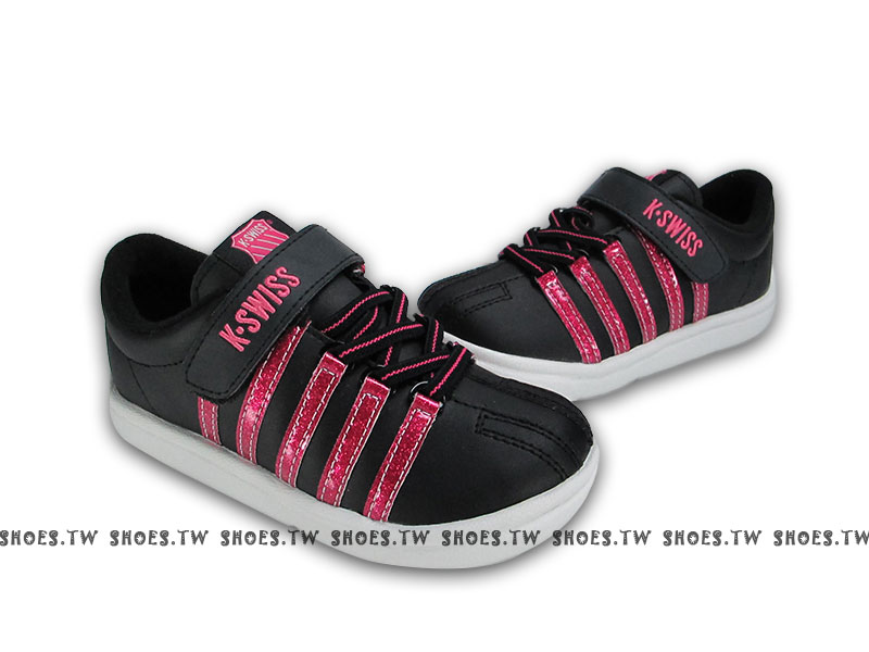 [18cm] 鞋殿【52881043】K-SWISS 童鞋 休閒鞋 中童 運動鞋 黑底亮桃條紋 女款