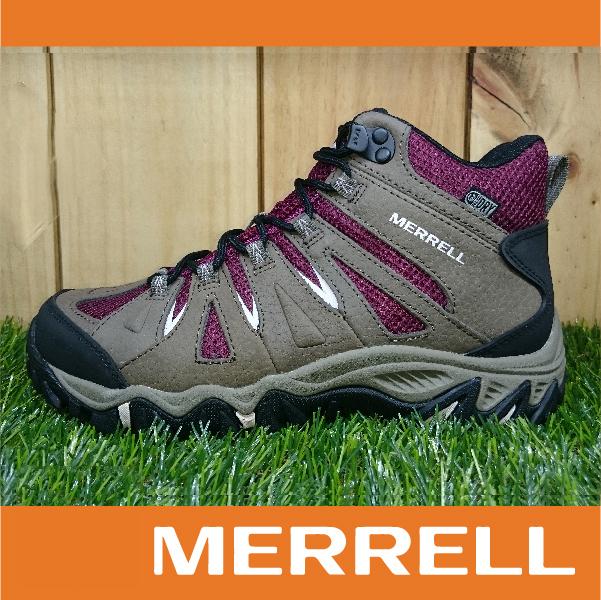 【出清7折】MERRELL MOJAVE MID MERRELL防水 女款高筒登山健行鞋 抓地大底 暗紅 萬特戶外運動