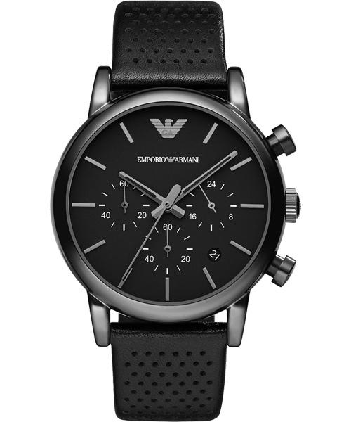 EMPORIO ARMANI/AR1737酷黑城市經典計時腕錶/黑面41mm