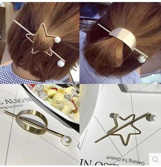 50%OFF【IU016625HR】韓國代購新款超仙女系簡約珍珠花朵五角星後掛式髮箍髮飾