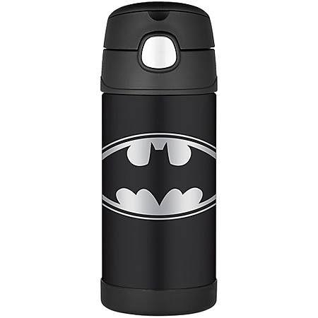 【美國膳魔師 Thermos】不銹鋼兒童吸管水壺 (蝙蝠俠)兒童學習水杯-355ml(新款有提把)