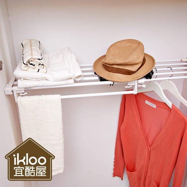 BO雜貨【YV5115】ikloo~左右伸縮多功能強力置物架 組合櫃 掛架 置物架 浴室收納 廚房用品