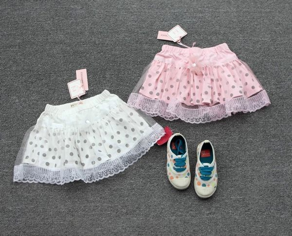EMMA商城~夏季中大童甜美點點拼紗超短裙半身裙粉 白蓬蓬童裙