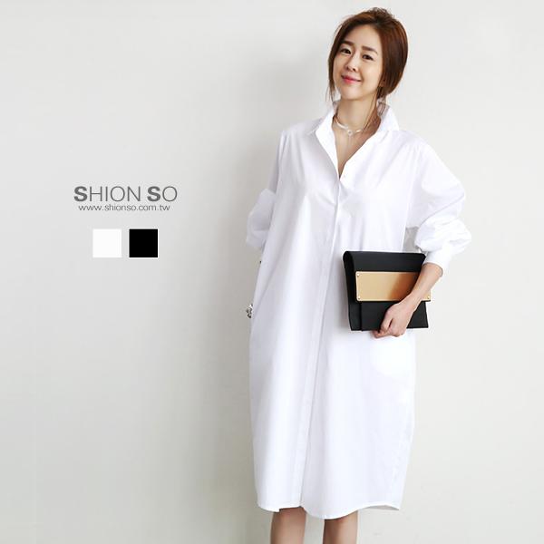 享瘦衣舍中大尺碼【B1137】簡約長版襯衫洋裝