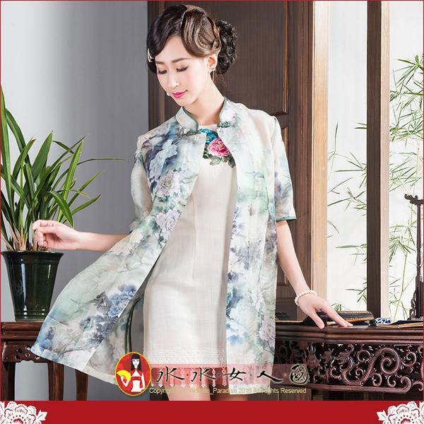 【水水女人國】~優雅中國風~幸福夏影~綠雛。復古真絲印花改良式時尚修身中袖旗袍式中長上衣.外套