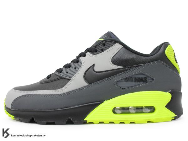NSW 經典復刻鞋款 人氣商品 2015 NIKE AIR MAX 90 LEATHER LTR 黑灰螢光黃 螢光綠 95 配色 慢跑鞋 (652980-007) !