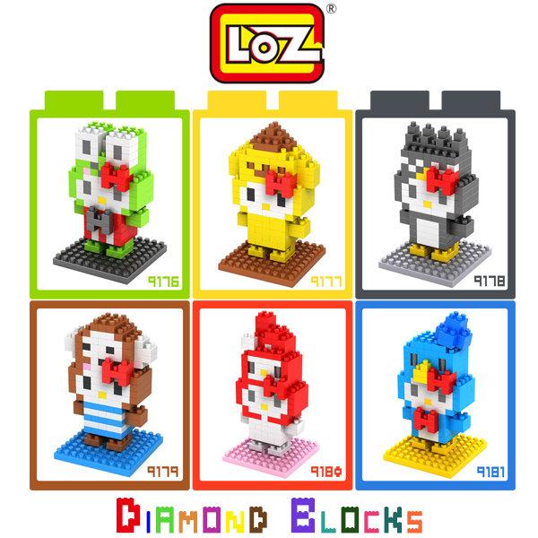 LOZ 鑽石積木-9176 - 9181 kitty青蛙王子裝 / 布丁狗裝/ 酷企鵝裝 / 猴子裝 等~
