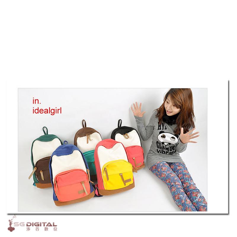 韓版 簡約風學生書包 背包 拼接風格帆布包 雙肩包 後背包 旅行包~斯瑪鋒科技~