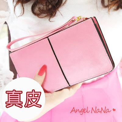 AngelNaNa 簡約真皮牛皮 三層大容量 拉鍊 手拿包 女皮夾長夾~【M094】