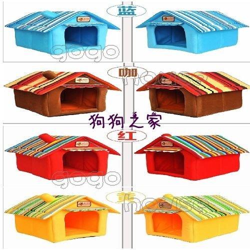 ☆狗狗之家☆彩色條紋屋頂 組合屋 寵物屋 窩 床~適8公斤以下寵物(4色)